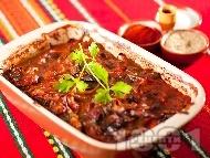Рецепта Вкусни печени пилешки дробчета на фурна с доматен сос, гъби и лук в тава на фурна